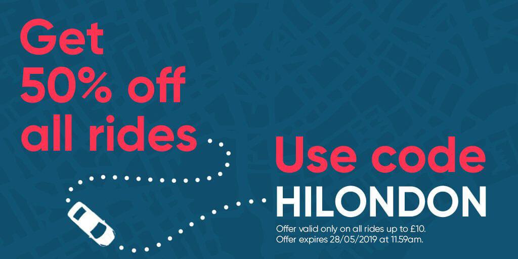 Utilisez le code promo HILONDON pour 50% de réduction sur tous les trajets