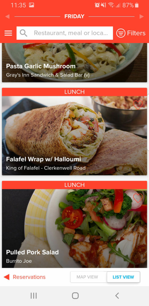 Mealpal app screenshot