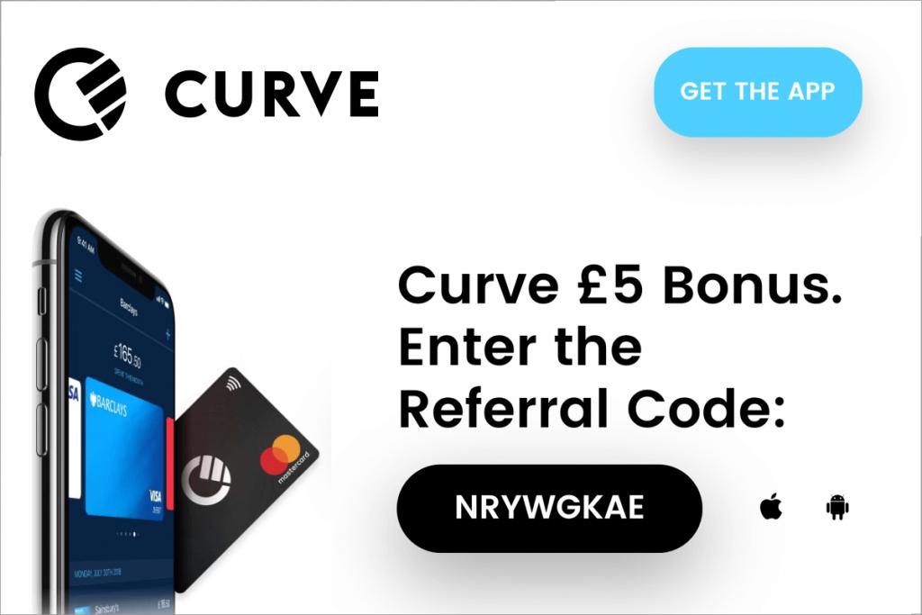 Curve code parrainage £5 en bonus lors de la première utilisation de votre carte Curve