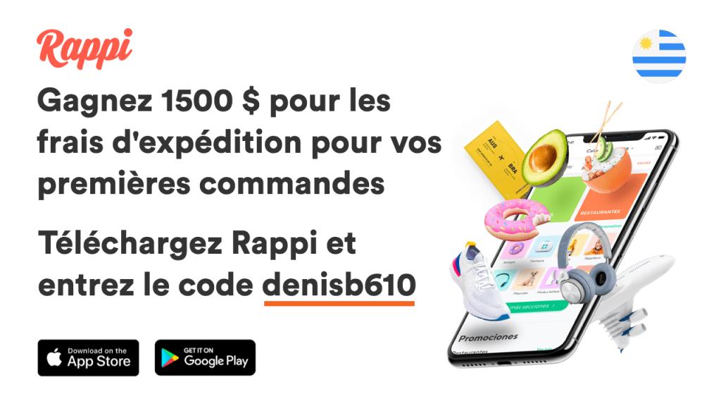 Téléchargez Rappi, entrez le code denisb610 et gagnez 1500 pesos pour les frais d'expédition pour vos premières commandes.