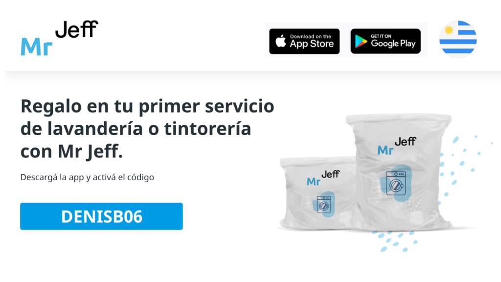 """Mr Jeff código de descuento para su servicio de lavandería en Montevideo. Mr Jeff código de descuento $ 120 UYU """"DENISB06"""""""