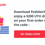 Pedidos Ya code for a $200 discount coupons for your first order in the app. Enter the code RF-TDKH-HYFE.