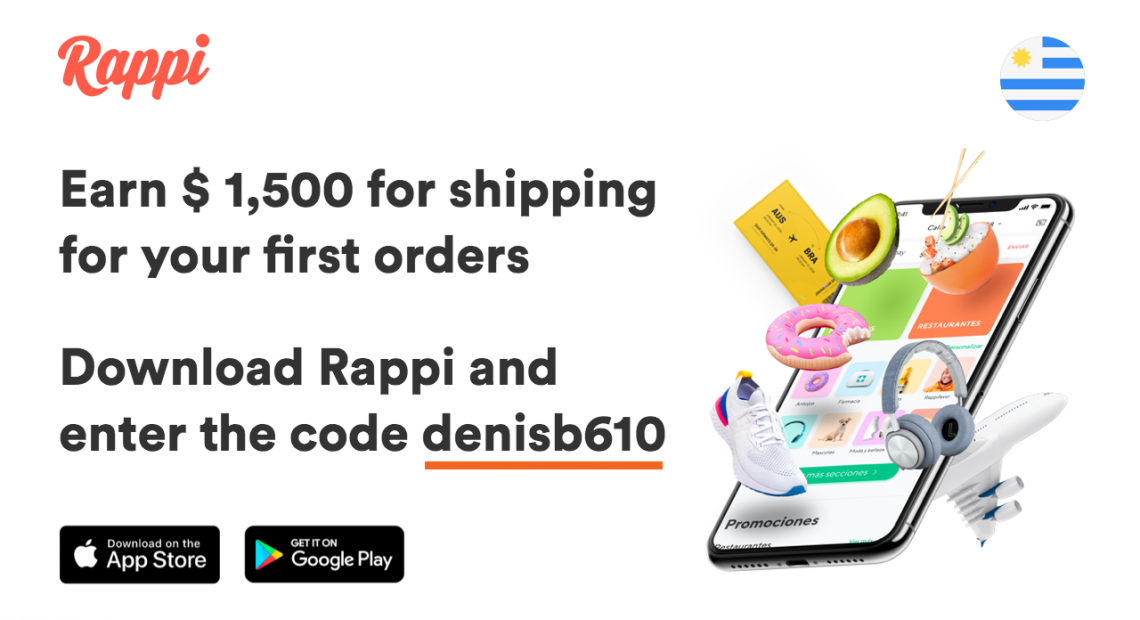 Download Rappi, enter the code denisb610 and earn 1500 pesos for shipping costs for your first orders.